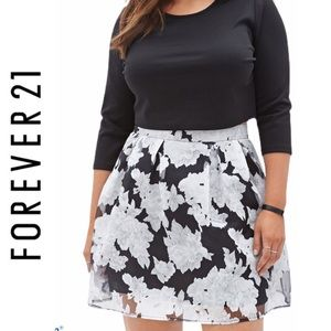 NWT Forever 21 Black Floral Organza Skirt